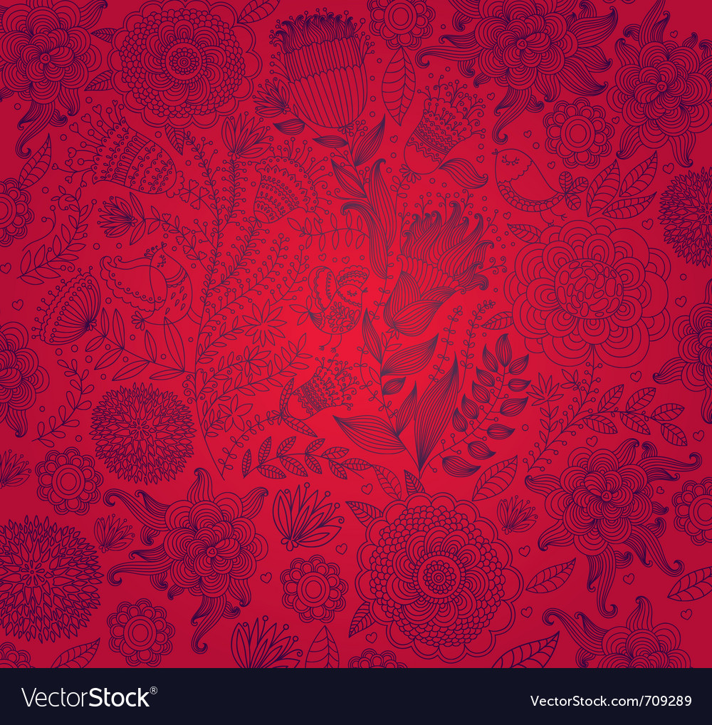 Red wall-paper with a flower pattern vector