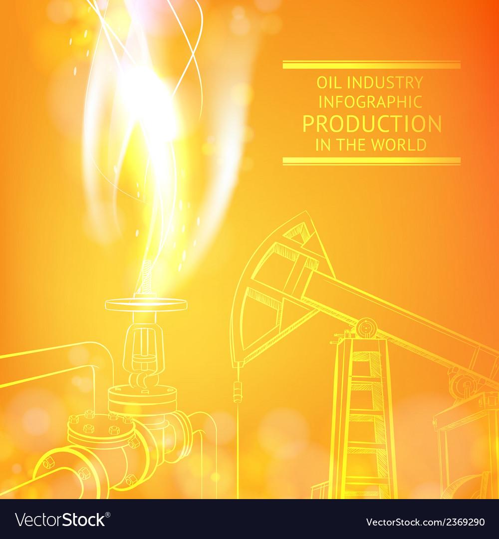 Oil pump on orange vector