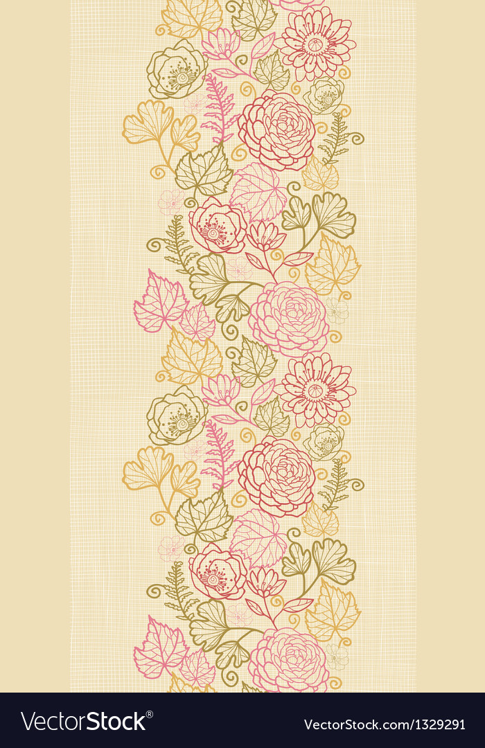 Textile flowers vertical seamless pattern vector