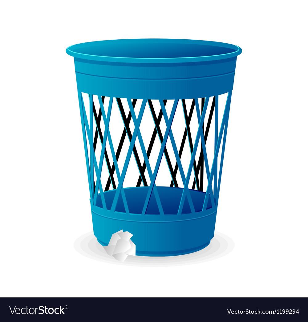 Plastic blue basket trash bins on white vector