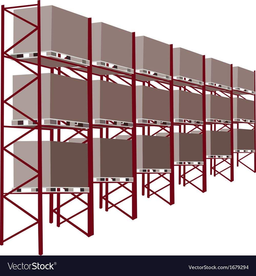 Shelves manufacturing storage with goods vector