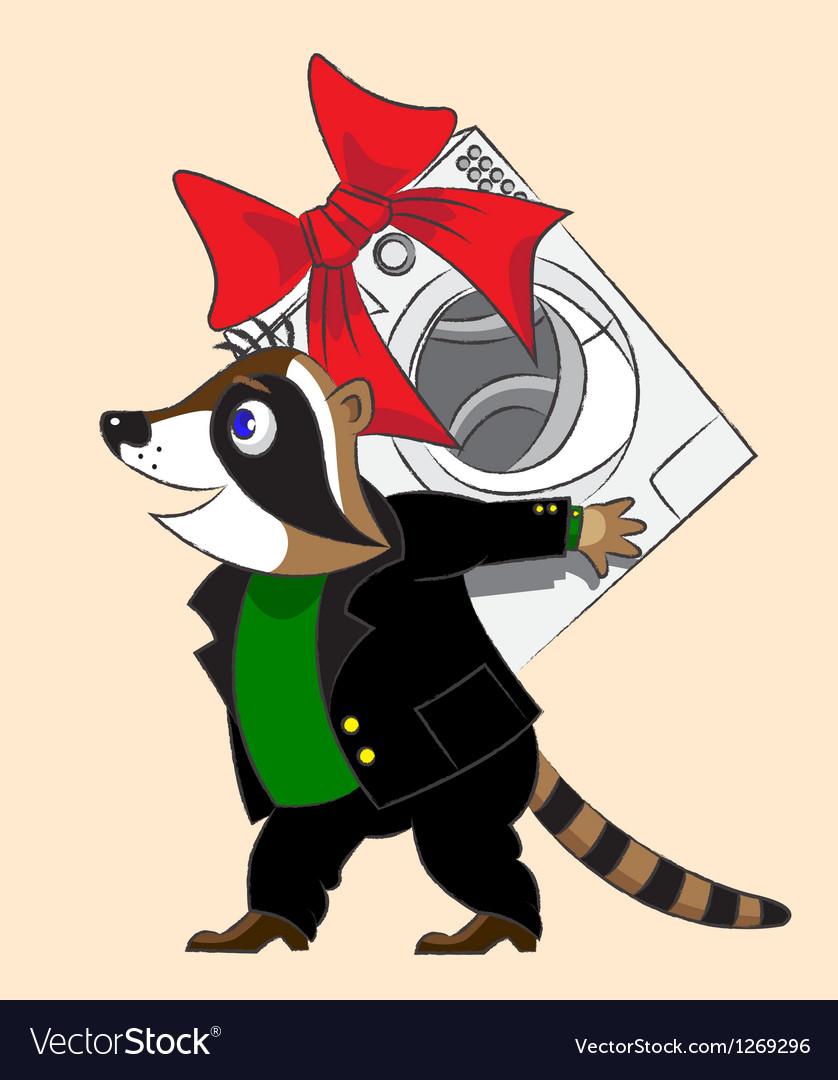 Raccoon and washing machine vector