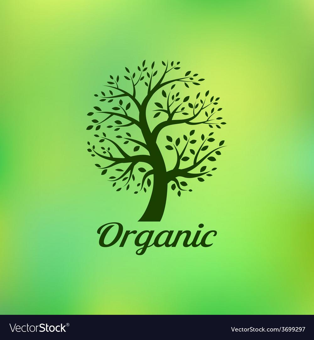 Organic green tree logo eco emblem vector