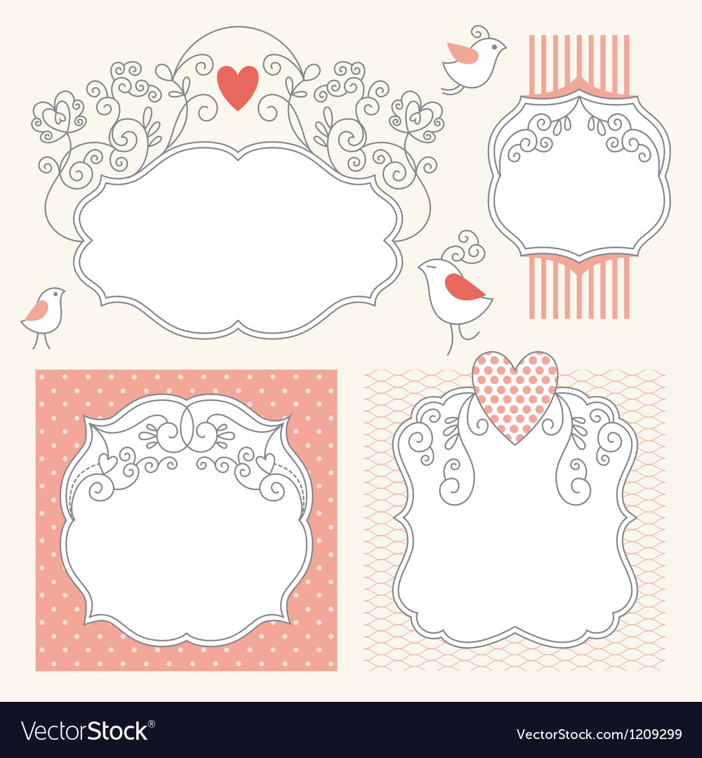 Set of romantic frames vector