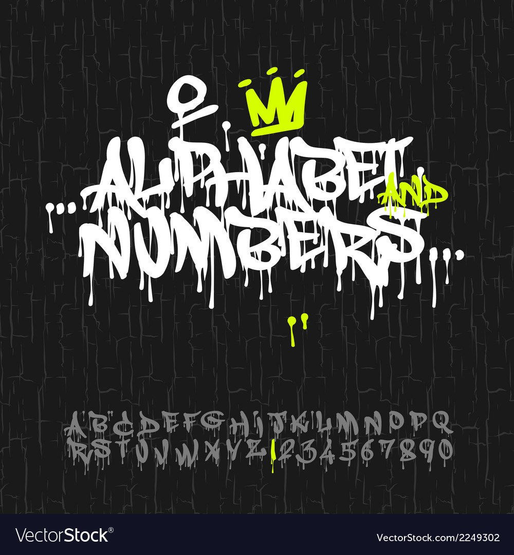 Graffiti alphabet and numbers vector