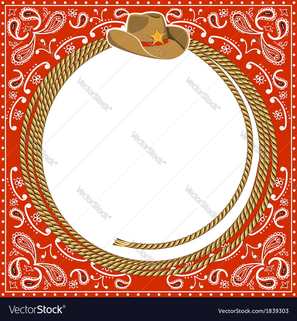 Cowboy card background with hat and rope vector