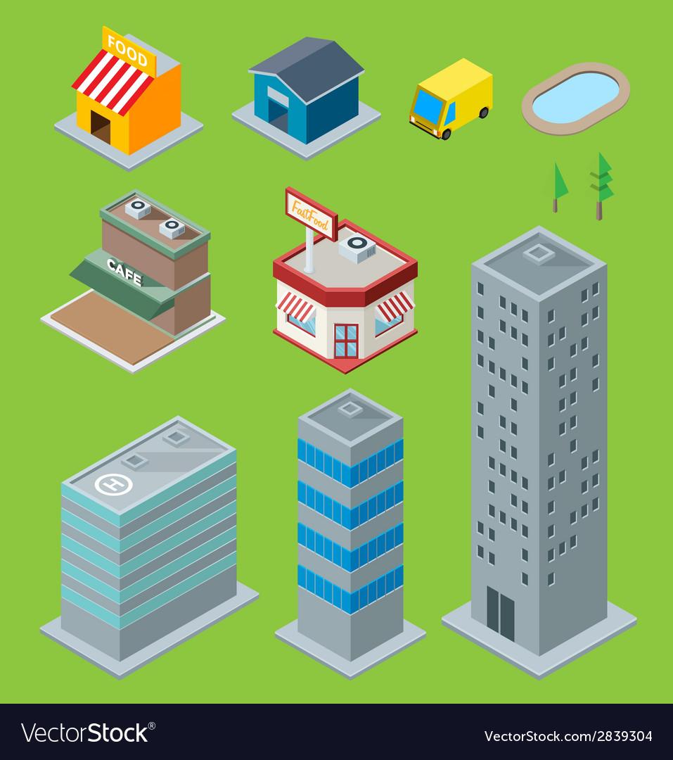 3d buildings vector