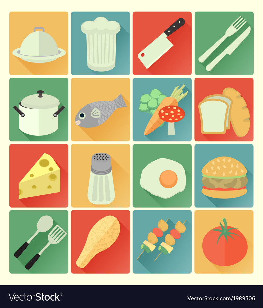 Flat icons food vector