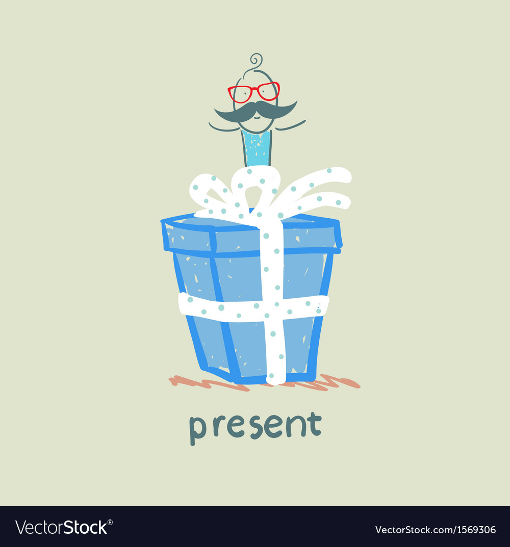 Person gives a gift vector