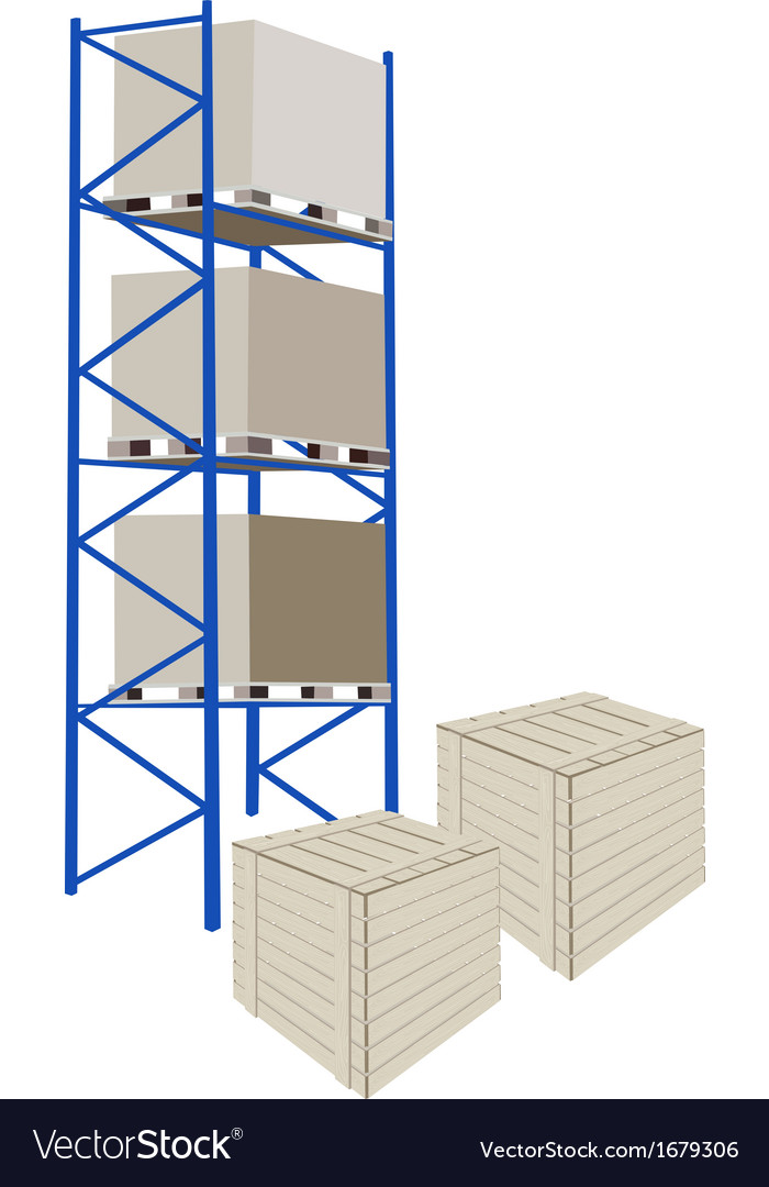 Shelves manufacturing storage with crates vector