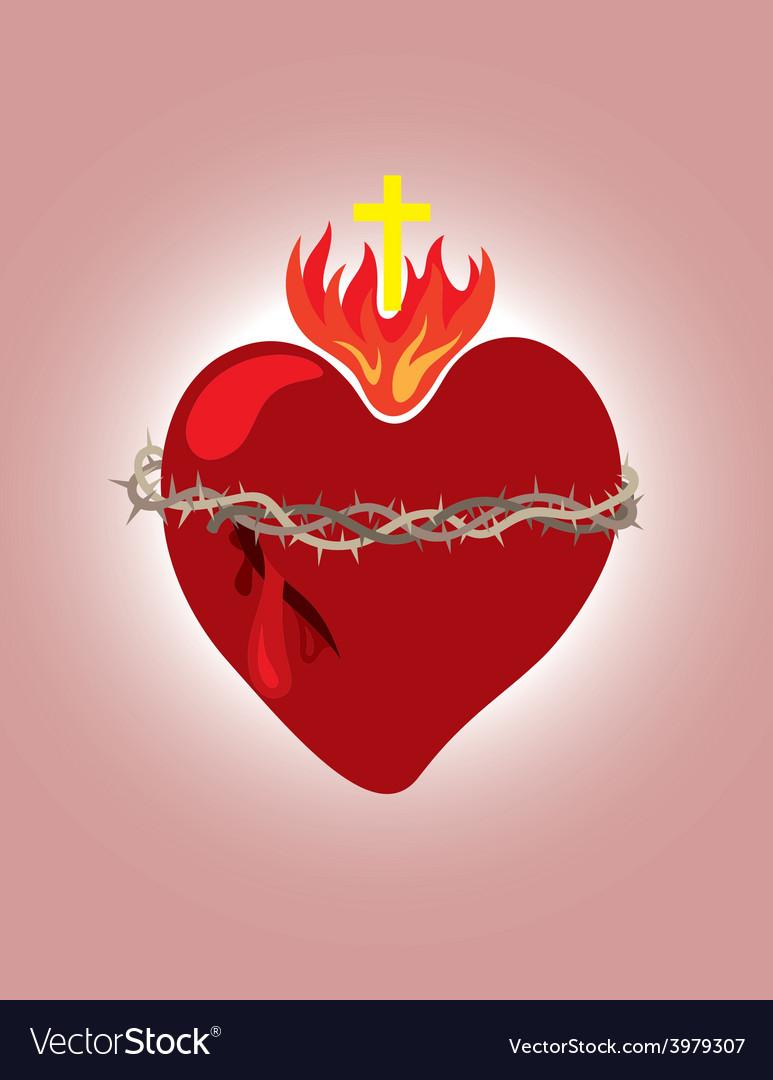 Secret heart christian icon and symbol vector