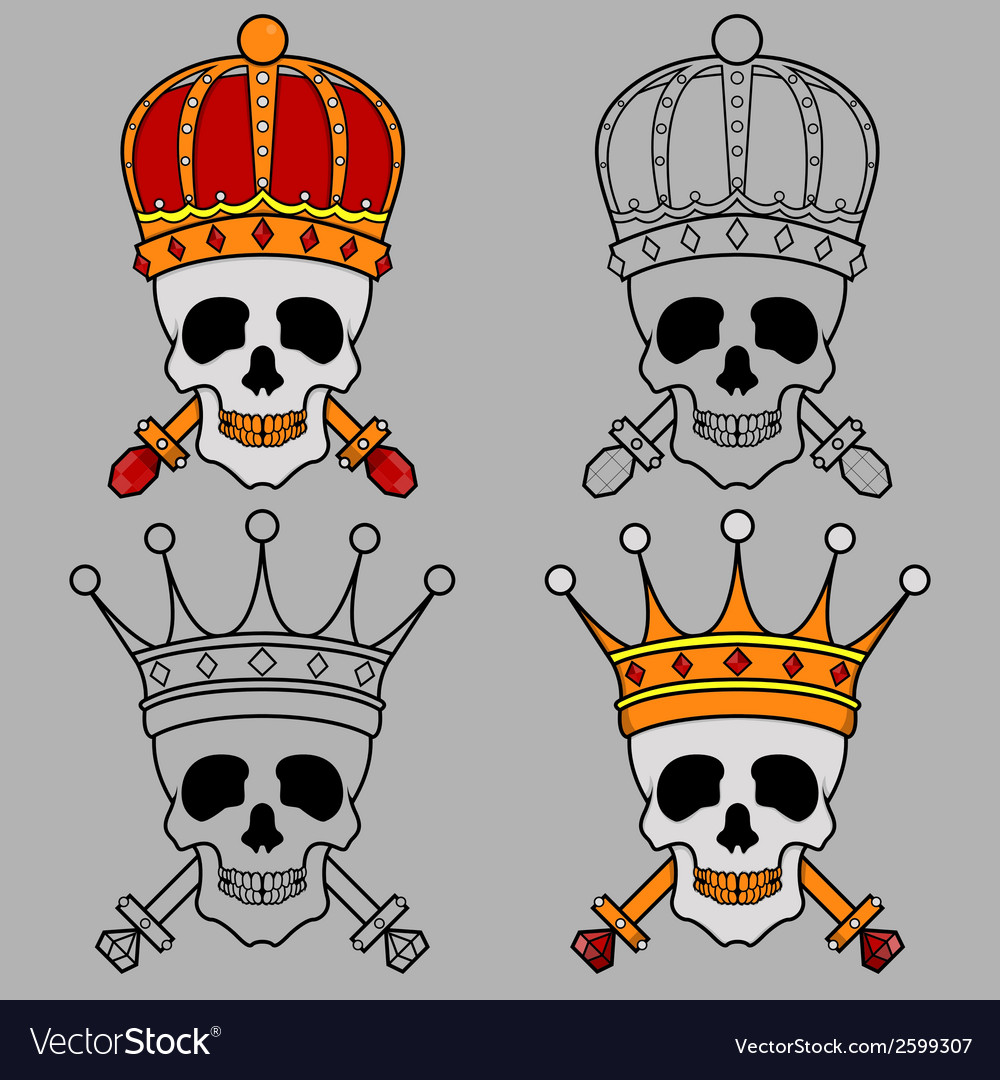 Skull mascot king crown vector