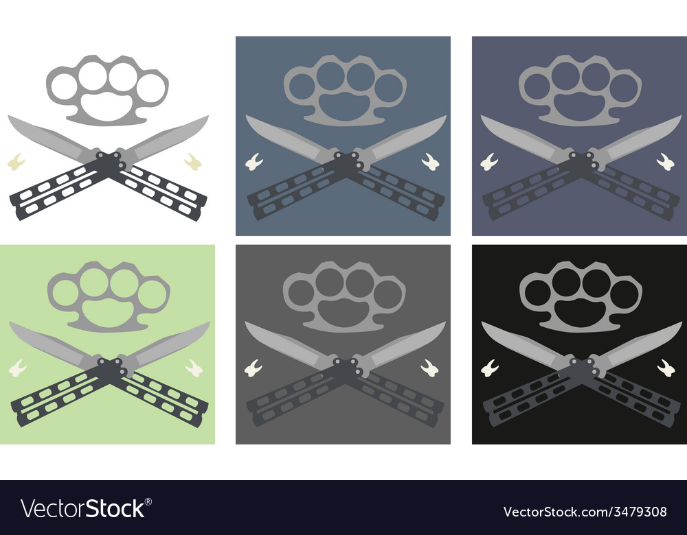 Crossed butterfly knifes with steel brass knuckle vector