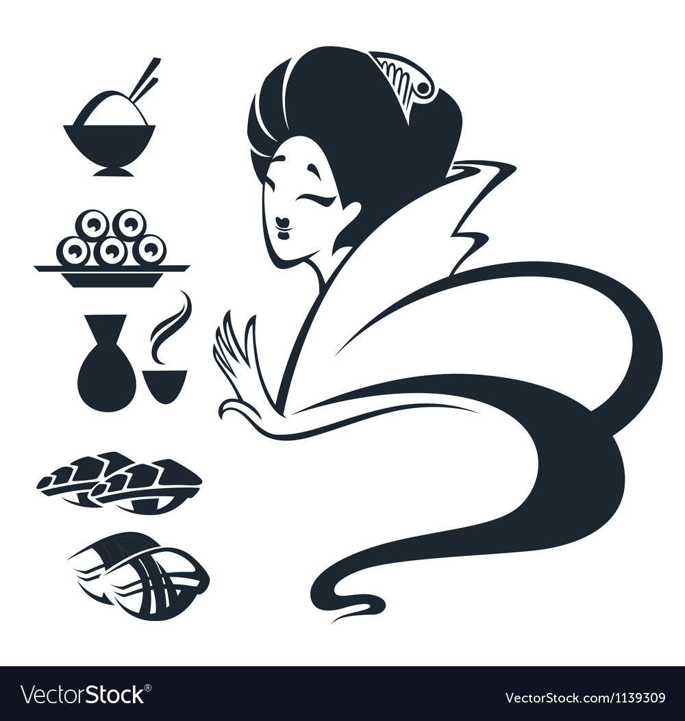Girl with traditional food vector