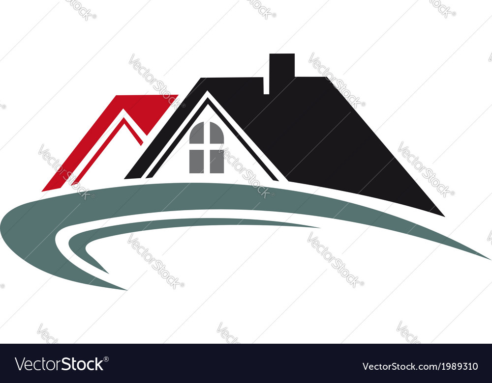 Real estate icon with house roof vector