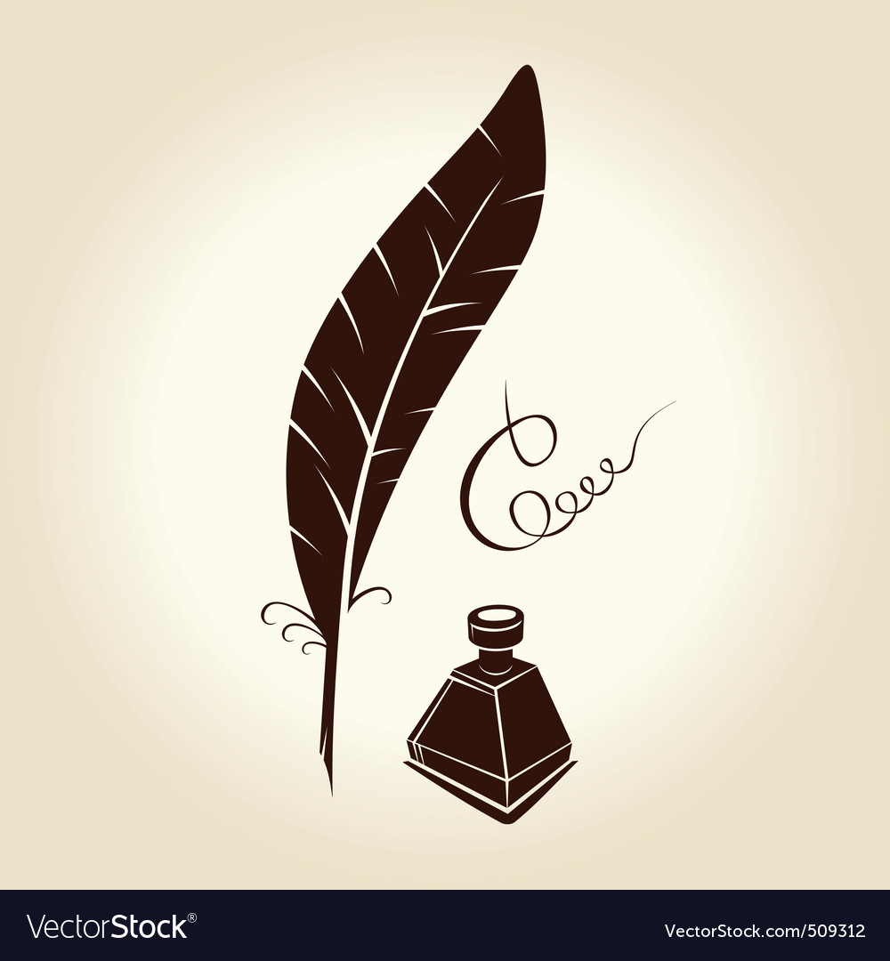 Feather pen ink calligraphic letter vector