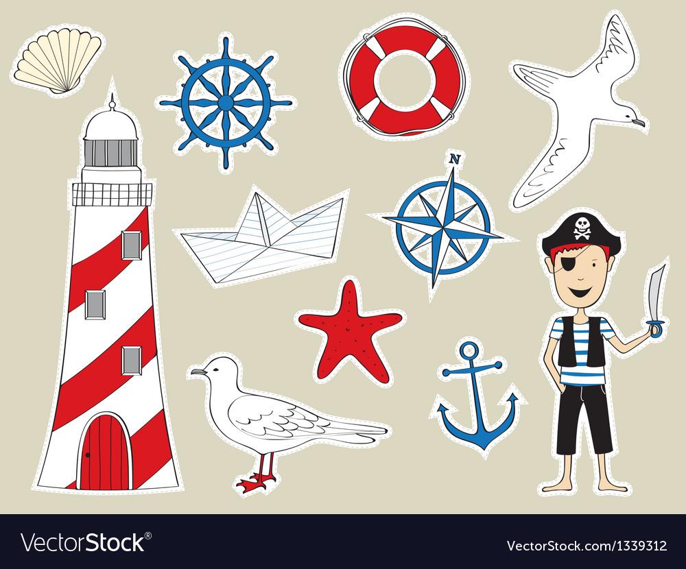 Funny nautical set vector