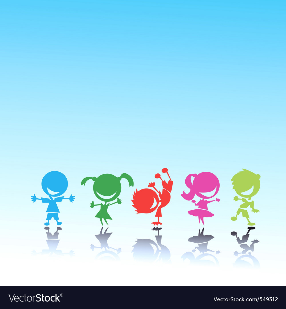 Stylized colorful kids vector