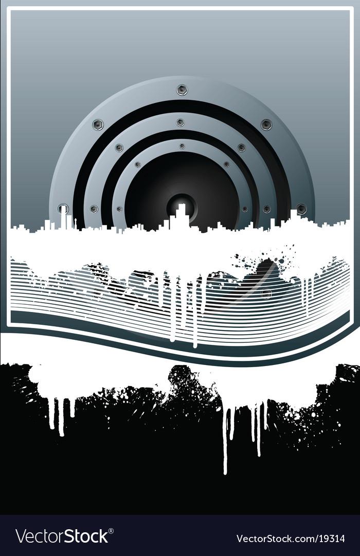 Music skyline grunge lined background vector