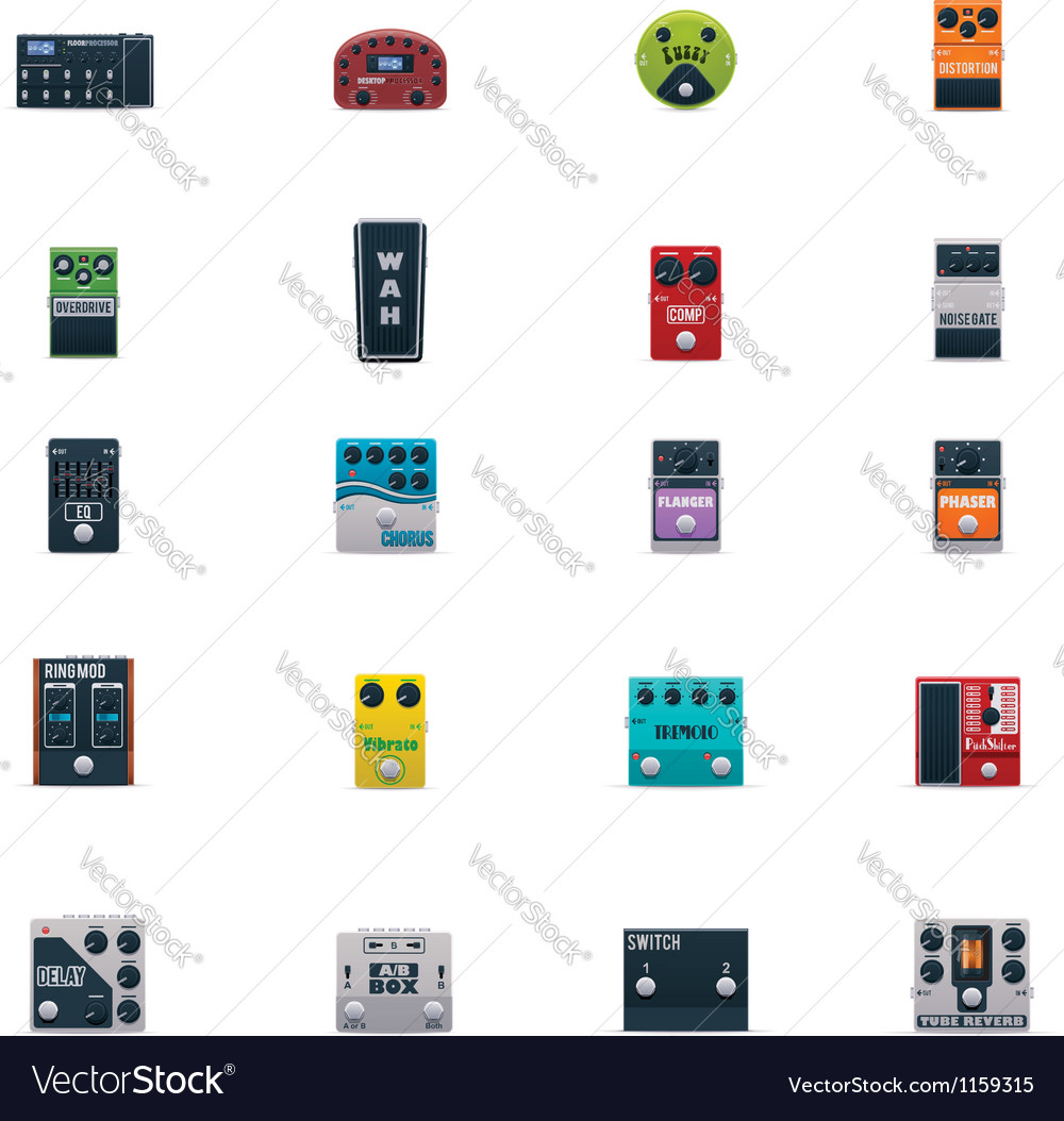 Guitar effects icons set vector