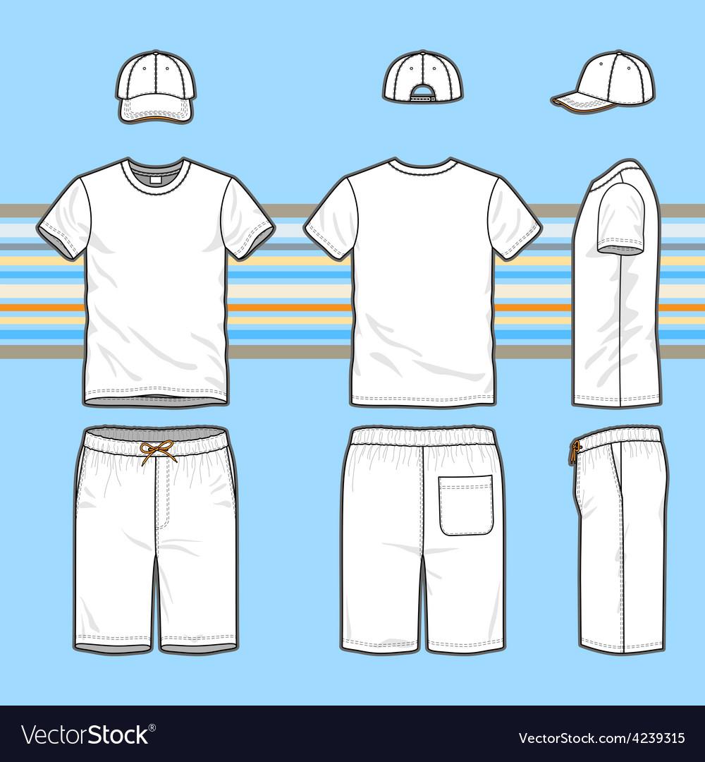 Mens t-shirt cap and swim shorts set vector