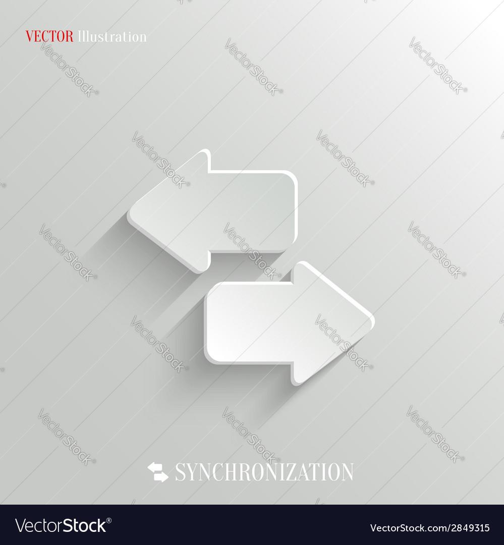 Synchronization icon - white app button vector