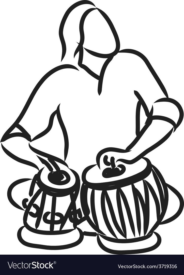 Indian musician playing tabla vector