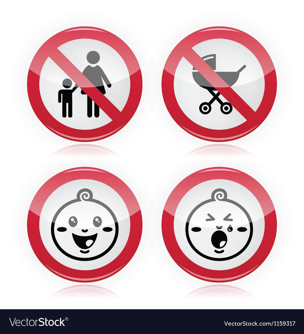Warning sign no babies no children vector