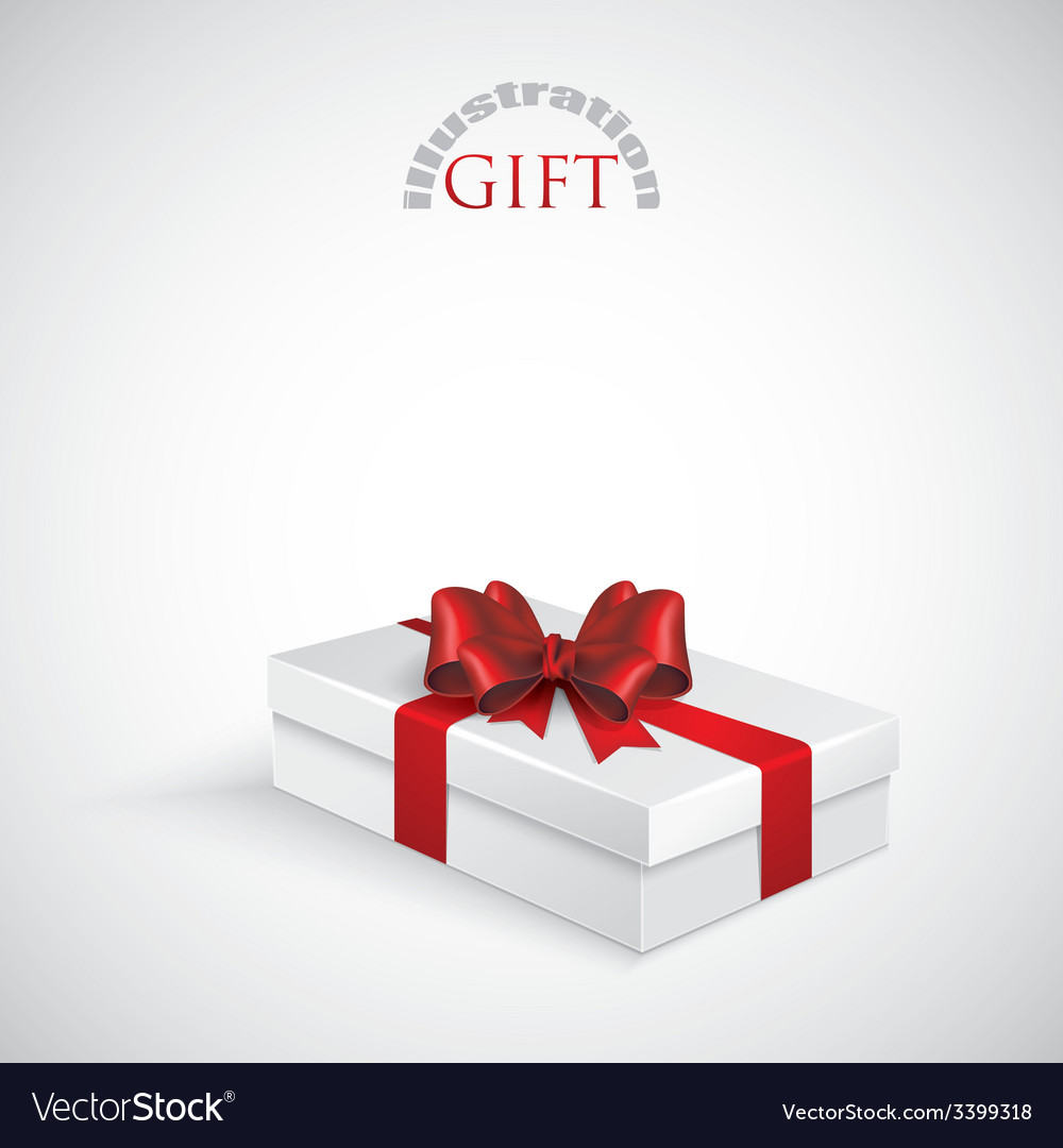 Gift box with red bow and ribbon vector