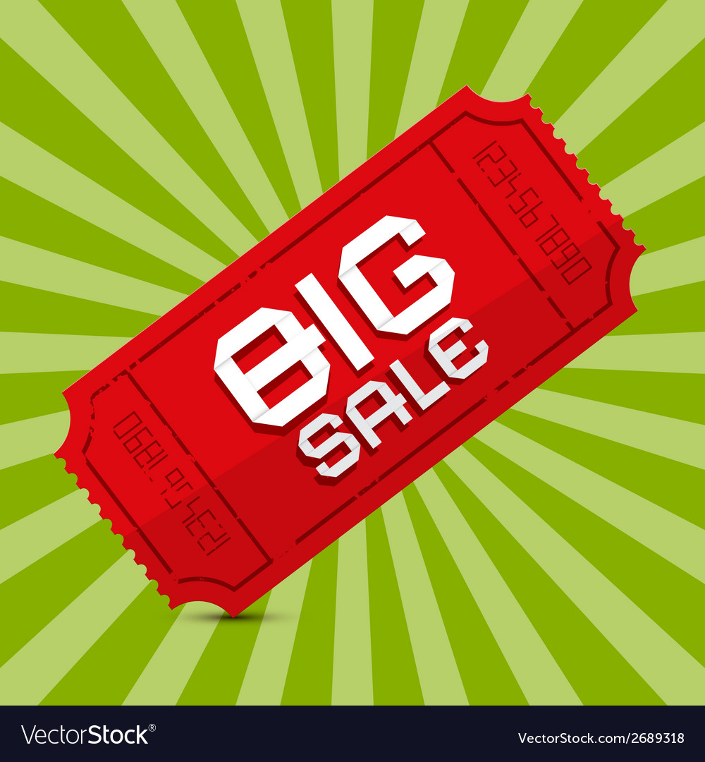 Red big sale paper ticket on green background vector