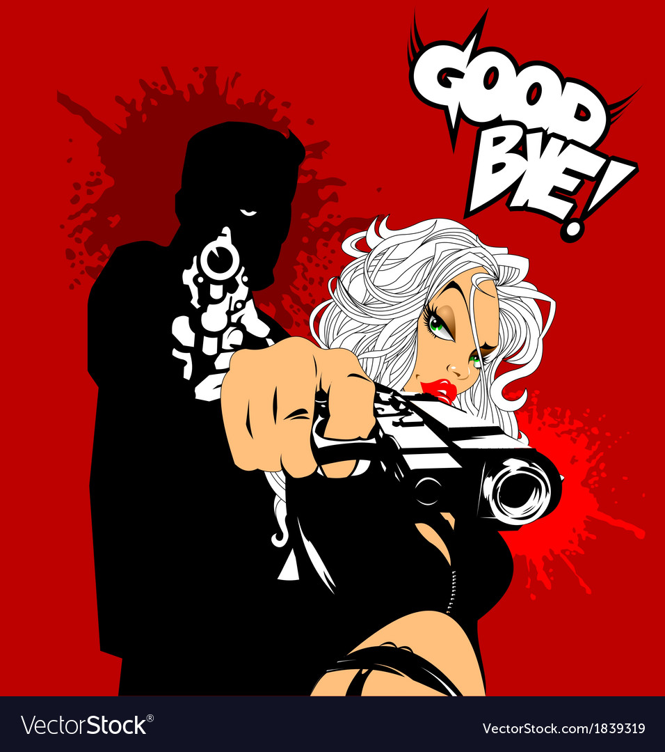 Blonde woman with gun vector