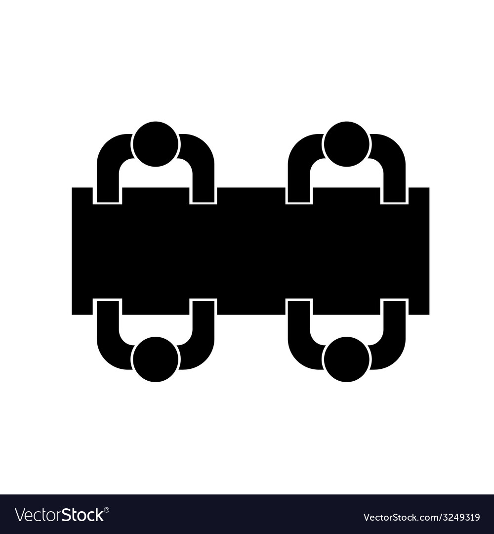 People sitting at the table icon silhouette vector