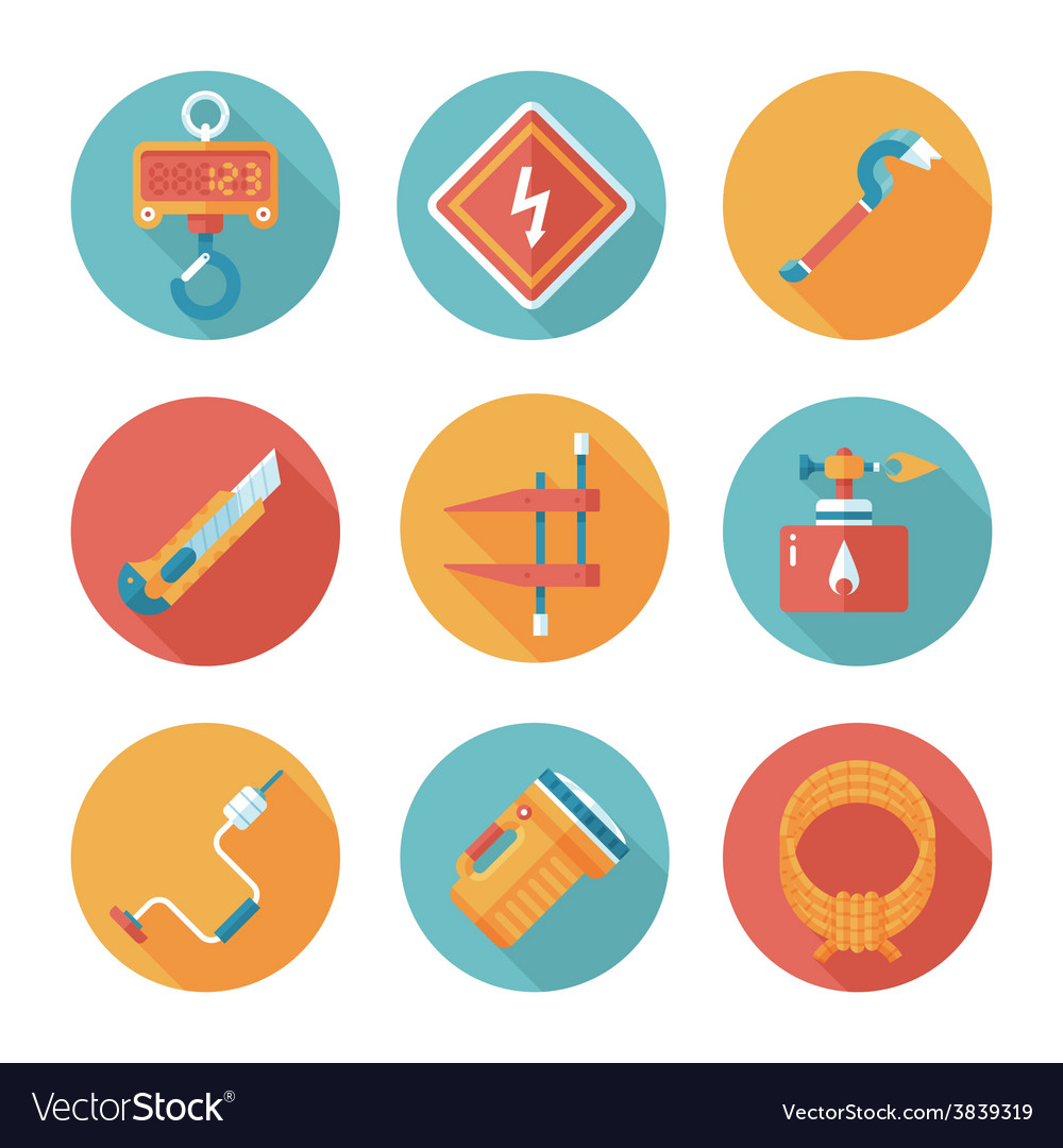 Trendy flat working tools icons vector