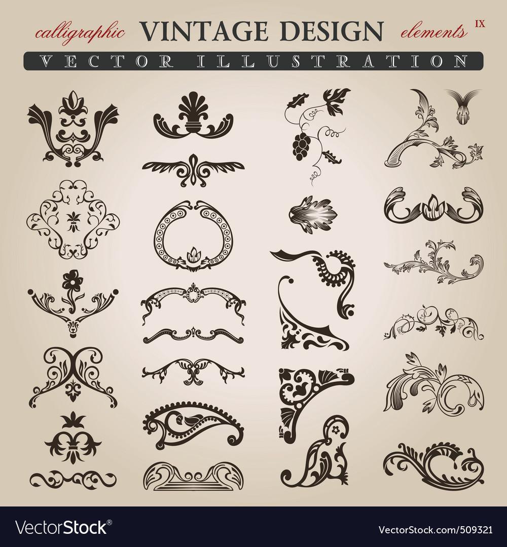 Flower calligraphic vintage royal design elements vector