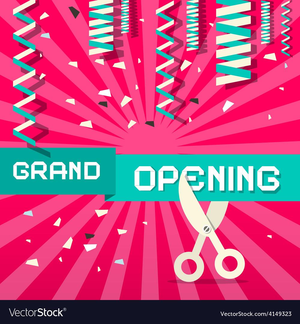 Retro grand opening with confetti and scisso vector