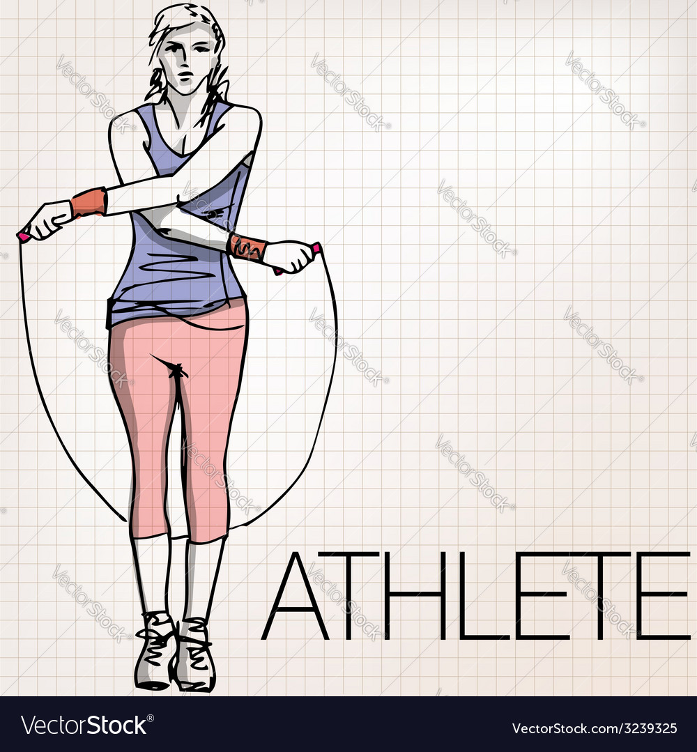 Woman training with jump rope vector