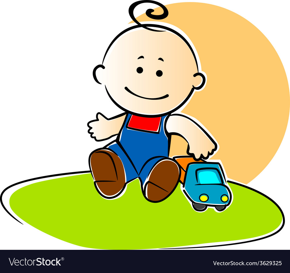 Young boy playing with a toy truck vector