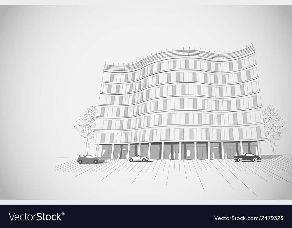 Architectural background with multistory building vector