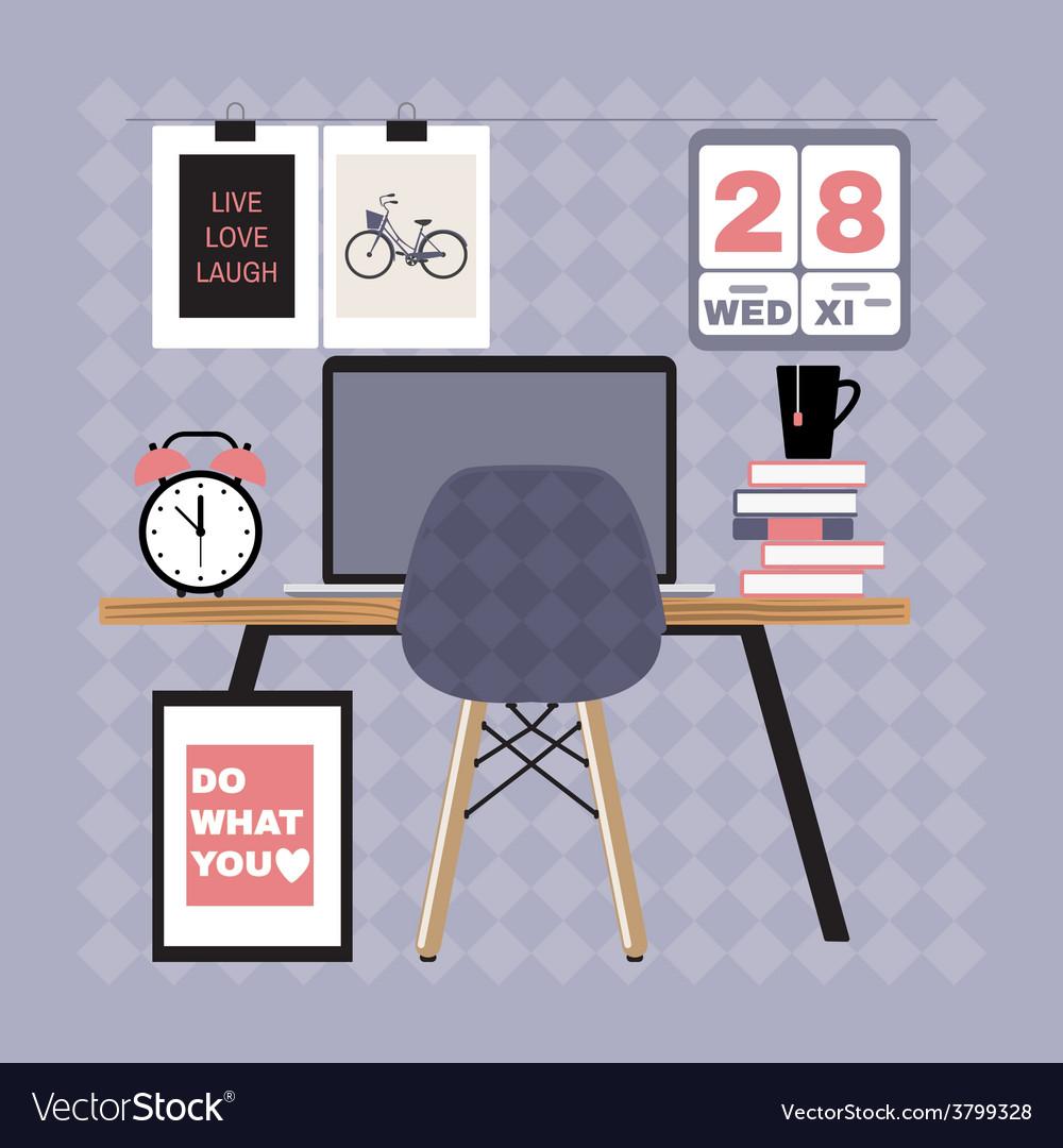 Modern office workspace vector