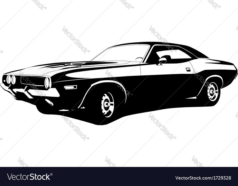 Muscle car profile vector