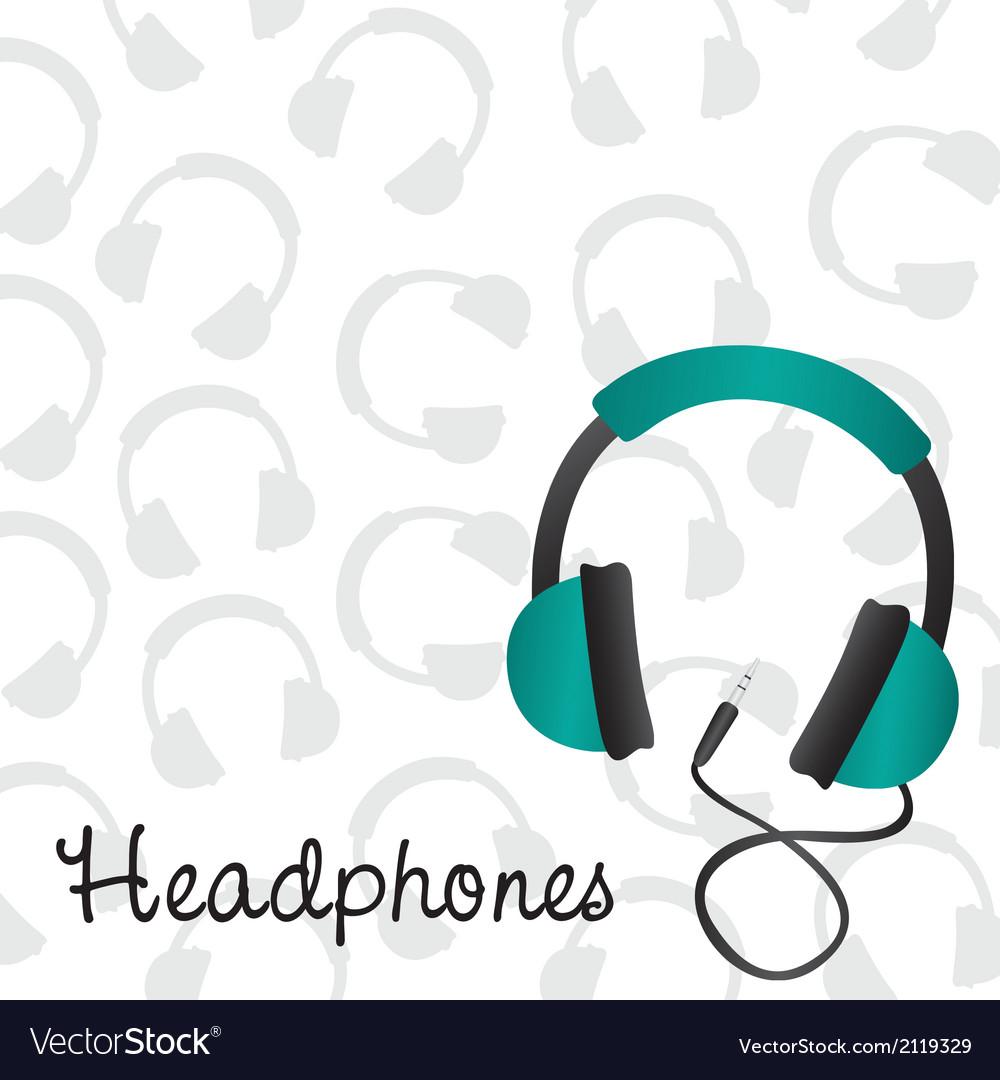 Headphones turquoise background pattern on headpho vector