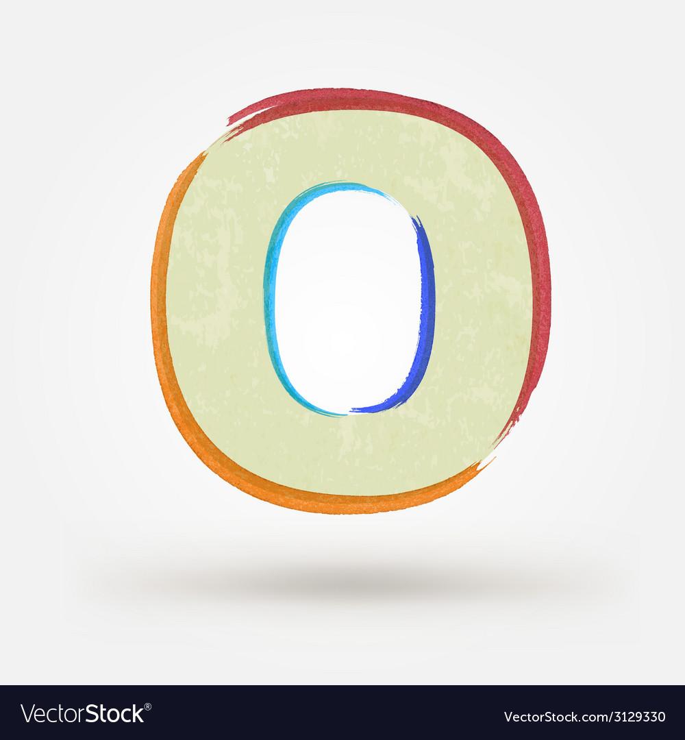 Alphabet letter o watercolor paint design element vector