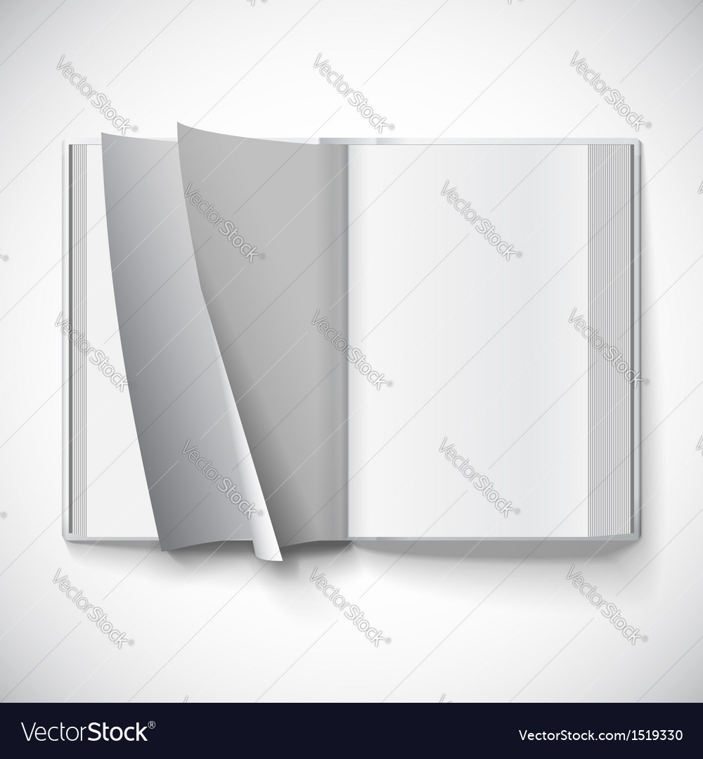 Blank open book turn the pages with gradient mesh vector