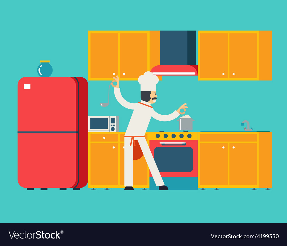 Chief cook food dish room kitchen furniture house vector