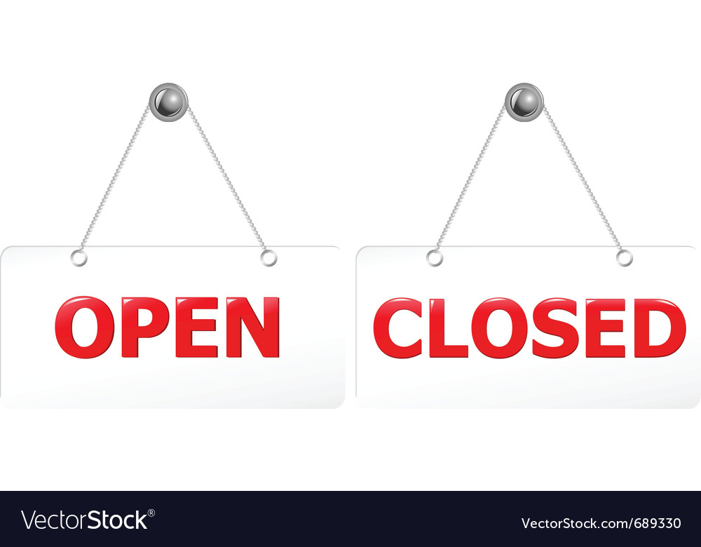 Open and closed door signs vector