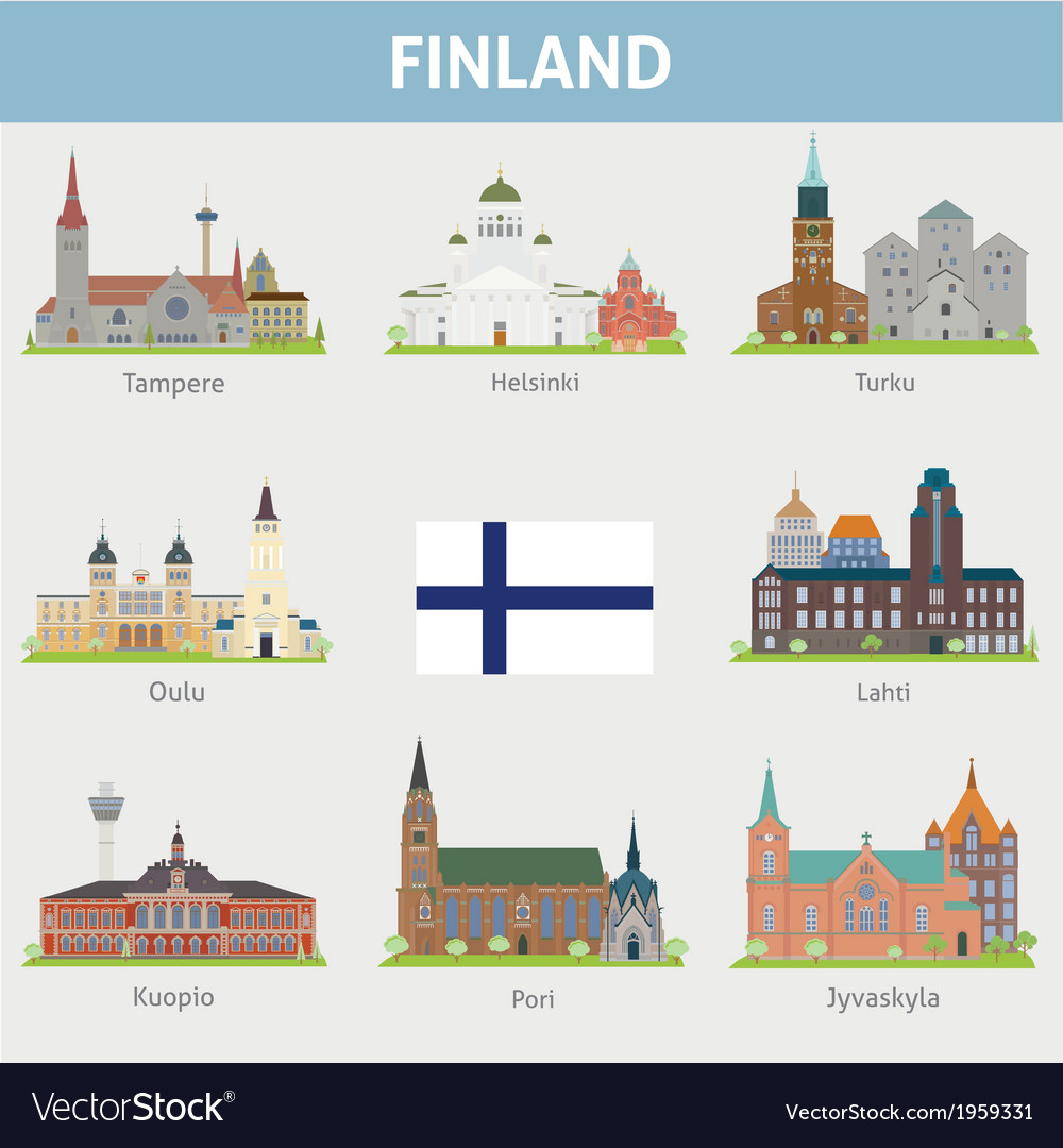Finland symbols of cities vector