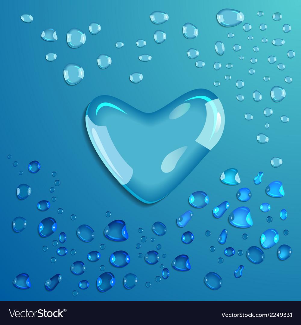 Waterdrop heart vector