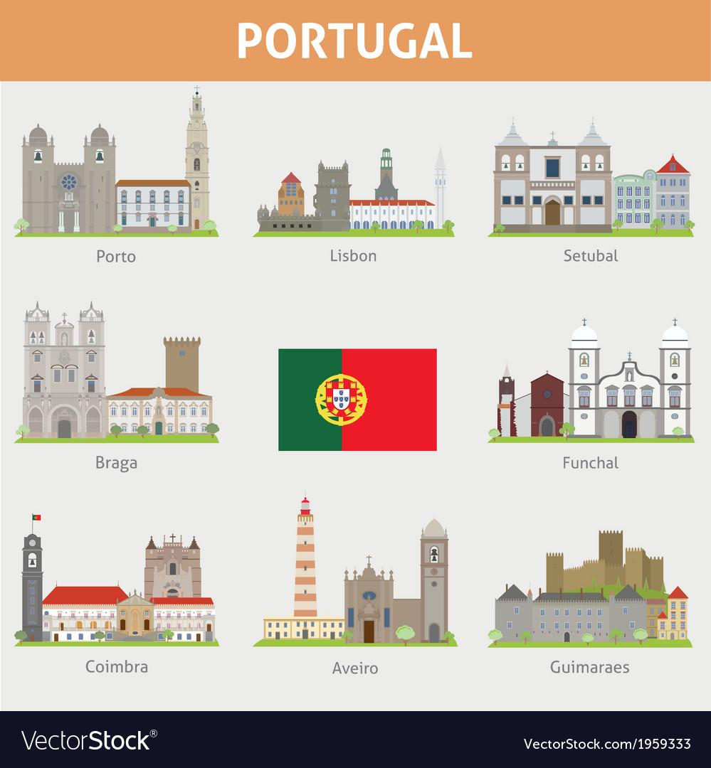 Portugal symbols of cities vector