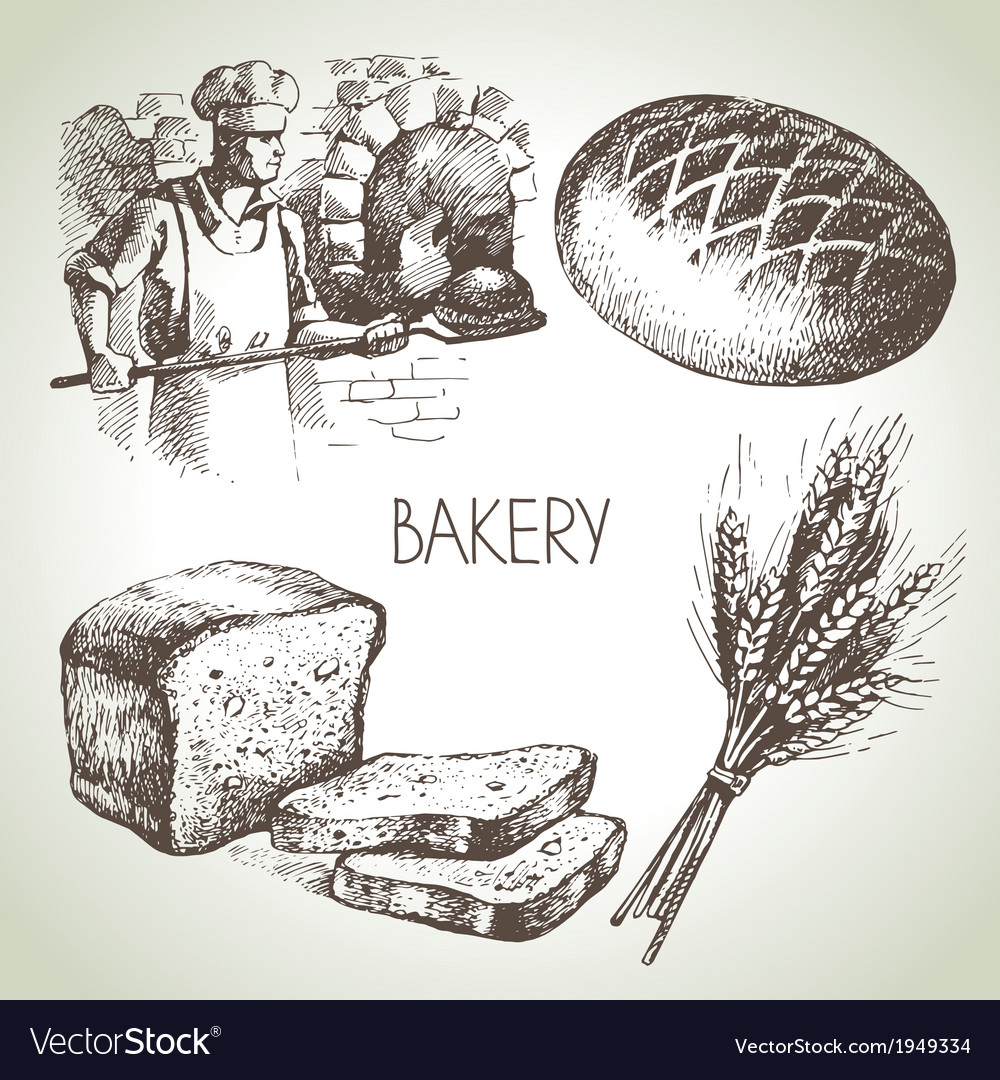 Bakery sketch icon set vector