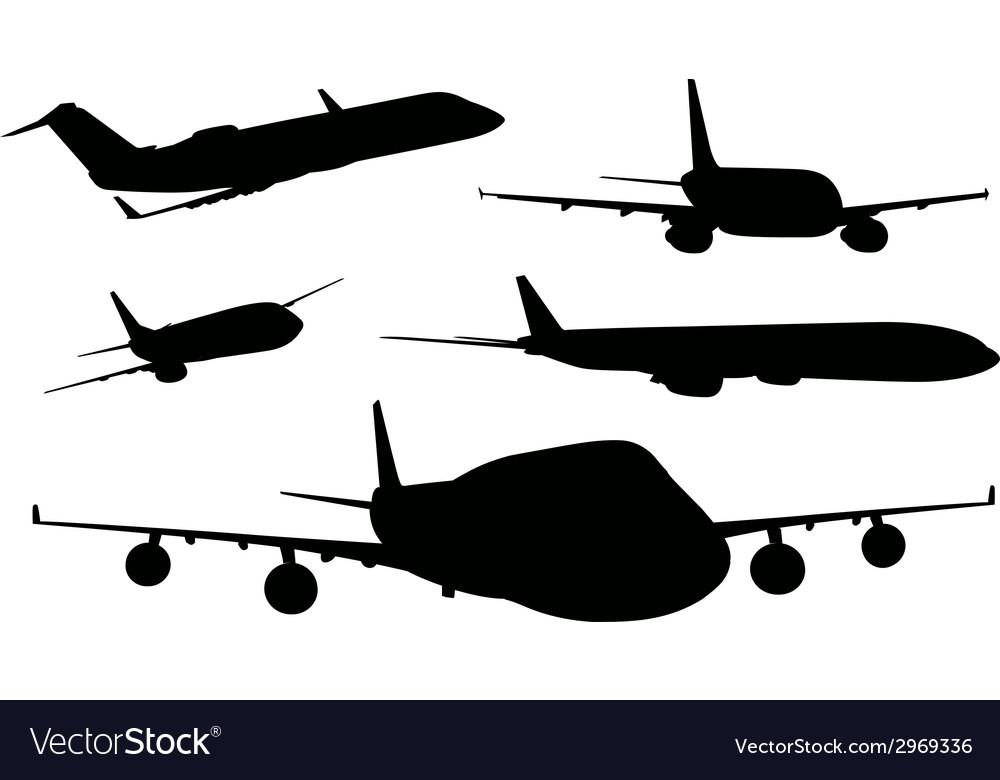 Airplanes in black color vector